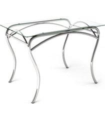 mesa de vidro lion ret cromado/vidro - art panta