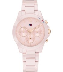 tommy hilfiger women's chronograph blush ceramic bracelet watch 38mm
