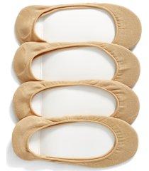 women's hue 4-pack liner socks, size small/medium - beige