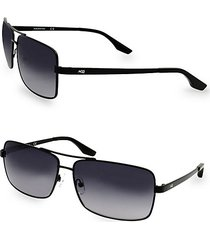 steel 60mm rectangular sunglasses