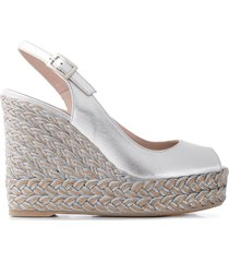 paul warmer woven wedge sandals - silver