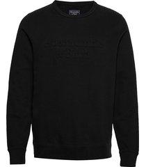 embossed trend logo crew sweat-shirt tröja svart abercrombie & fitch