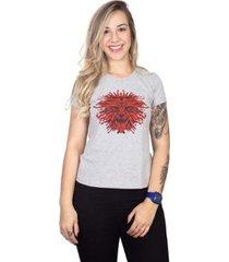 camiseta 4 ás manga curta leão silkado feminina - feminino