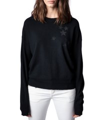 women's zadig & voltaire gaby strass stars wool & cashmere sweater, size large - black