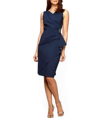 alex evenings side ruched cocktail dress, size 10 in navy at nordstrom