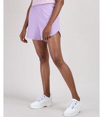 short de moletom feminino running cintura alta com bolsos lilás