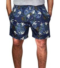 shorts praia estampado   microfibra azul com bolsos laterais ref.386.28