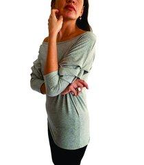 blusa gris manga recogida cuello redondo s