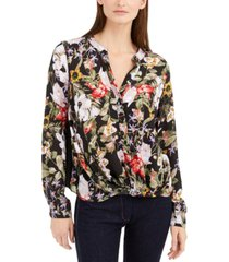 inc twisted floral-print blouse, created for macy's
