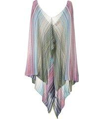 missoni striped draped poncho - multicolour