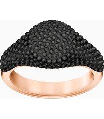 anello stone signet, nero, placcato oro rosa
