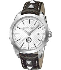 roberto cavalli by franck muller men's swiss quartz brown calfskin leather strap watch, 42mm