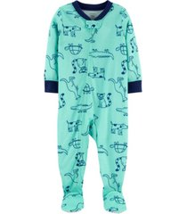 carter's baby boy 1-piece dog poly footie pjs