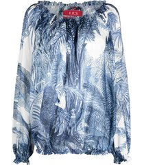 f.r.s for restless sleepers sketch-print blouse - blue