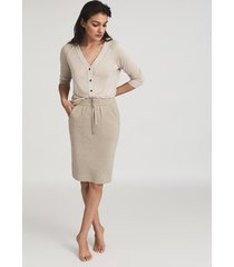 reiss connie - knitted midi skirt in neutral, womens, size xl