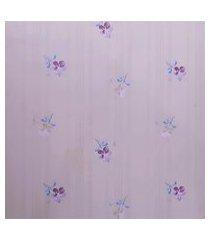 kit 3 rolos de papel de parede fwb floral rosa e lilás folhas verde