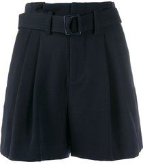 vince pleated belted shorts - blue