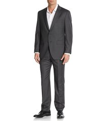 saks fifth avenue made in italy men's modern-fit wool pinstriped suit - dark grey - size 36 r
