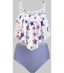 ladder cutout flounce american flag tankini swimsuit