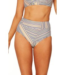women's l space portia high waist bikini bottoms, size medium - beige