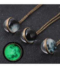 collana pendente vintage in vetro con superficie sferica noctilucent collana antica in rame per donna
