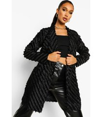 getailleerde blazer jurk met textuur, black