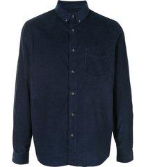 a.p.c. serge corduroy cotton shirt - blue