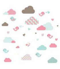 adesivo de parede nuvens e pássaros