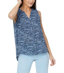 nydj pleat back sleeveless split neck blouse, size small in shimmer wave at nordstrom