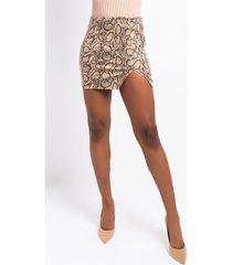 akira golden hour snake mini skirt