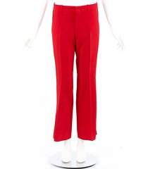 gucci red mid rise flared ankle pants red sz: s
