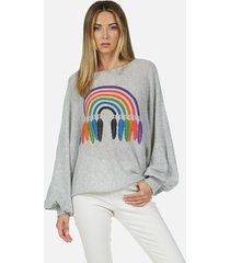 sash feather rainbow - xs/s heather grey