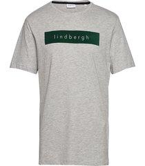 logo flock print tee s/s t-shirts short-sleeved grå lindbergh