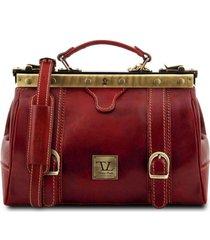 tuscany leather tl10034 monalisa - borsa medico in pelle con fibbie frontali rosso