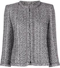 alberta ferretti collarless tweed jacket - silver