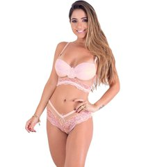 conjunto caleçon vip lingerie com tule transparente rosa