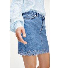 tommy hilfiger women's scalloped hem mini skirt light wash - 2