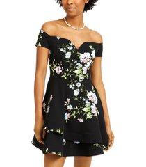 b darlin juniors' off-the-shoulder floral-print dress