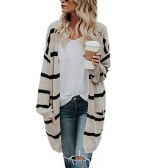 apricot stripe open front pockets knit cardigan