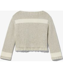 proenza schouler white label stripe fringe sweater khaki/white/grey l
