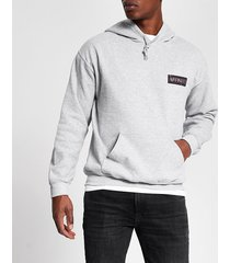 river island mens grey 'affinity' printed regular fit hoodie