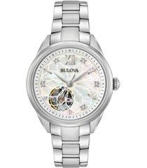 bulova women's automatic diamond accent stainless steel bracelet watch 34mm 96p181