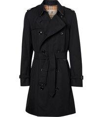 burberry chelsea heritage midi trench coat - black