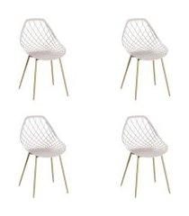conjunto 04 cadeiras cloe base aço nude off-white