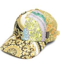 versace barocco mosaic-print silk cap - white