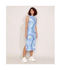 vestido feminino midi estampado tie dye sem manga gola alta azul