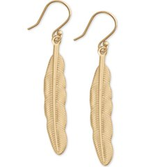 lucky brand gold-tone feather drop earrings