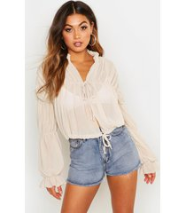 ruched tie front sheer top, stone