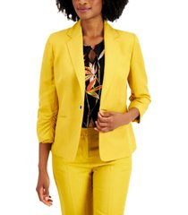 kasper one-button ruched-sleeve blazer