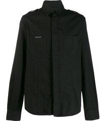 philipp plein military style skull shirt - black